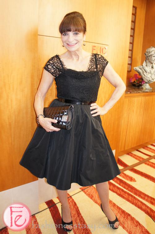 Jeanne Beker wearing Lida Baday dress, Gina shoes, vintage Chanel purse